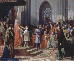 Doña María de Molina presentando a su hijo el infante don Fernando a la Cortes de Castilla reunidas en Valladolid en 1295, 1863. Congreso de los Diputados