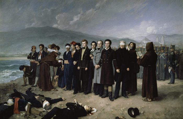 Fusilamiento de Torrijos y sus compañeros en las playas de Málaga, 1888. Museo Nacional del Prado